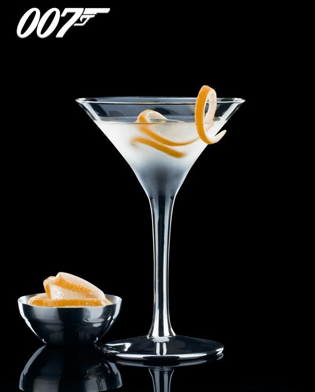 Vesper Martini: 3 measures of Gordon's Dry Gin, One measure of Vodka, 1/2 measure of Kina Lillet; Shake it over ice and then add a thin slice of lemon peel