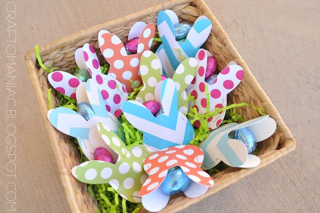 Paper bunny party favors...closing the sides with hot glue or sewing would be cute!