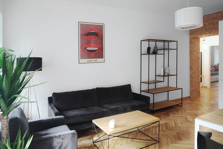 Recycled drum lamp by ekodizajn in stylish apartment in Warsaw. Interior design and photo by Metry Studio, Warsaw #recycled #industrial #lamp #modern #apartment #etsy #whitewall