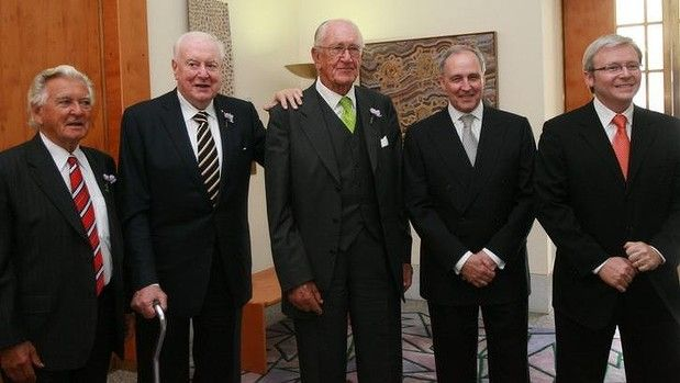 Prime Ministers together: Bob Hawke, Gough Whitlam, Malcolm Fraser, Paul Keating and Kevin Rudd at the apology to the stolen generations at Parliament House in 2008.