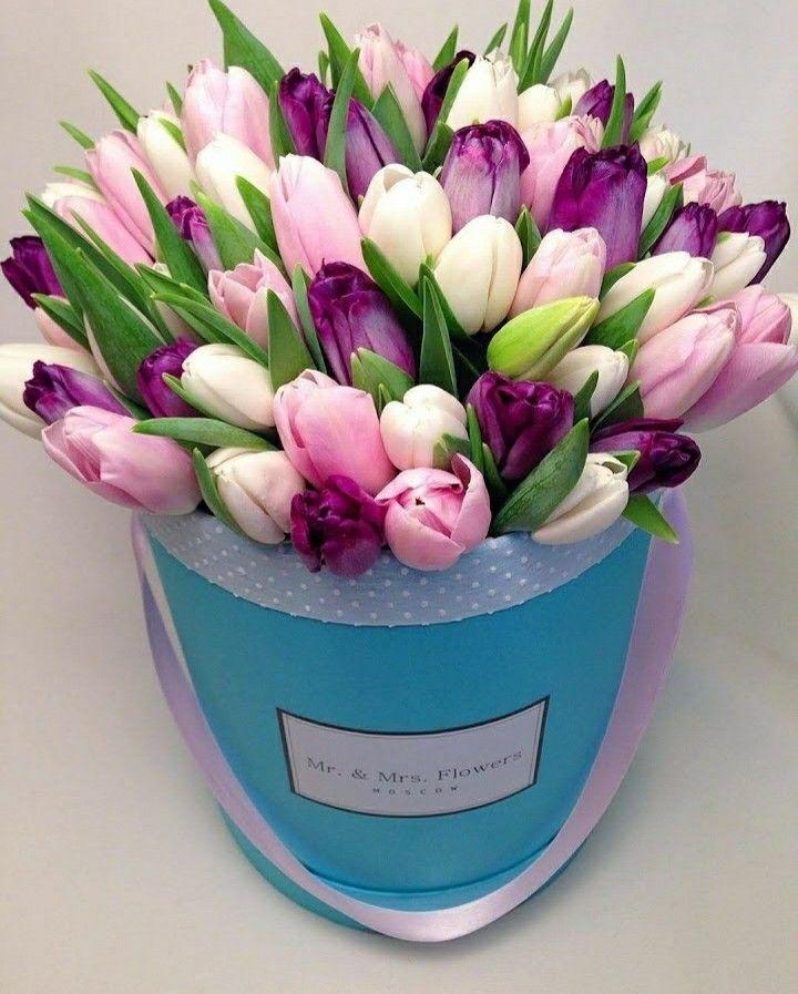 Невесты, разноцветные букет из тюльпаны в коробке