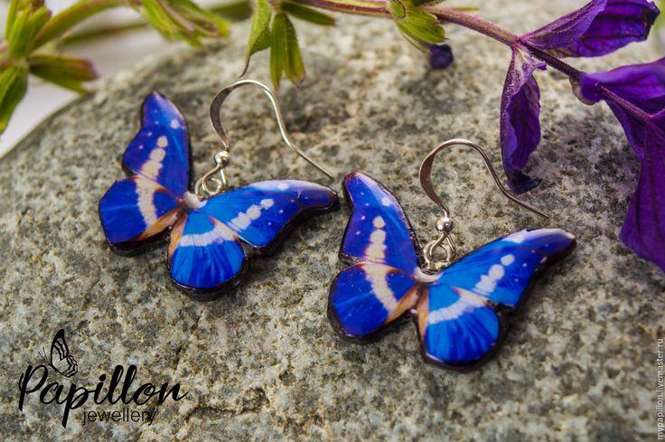 Купить Серьги Бабочки лазурно-белые - синий, серьги ручной работы, серьги…