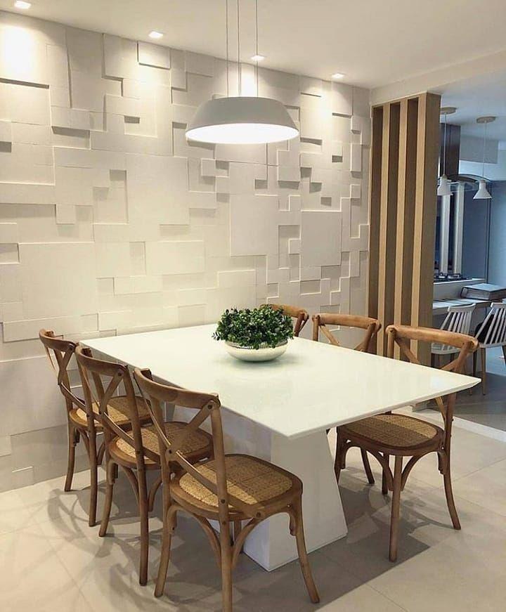 Que Sala De Jantar Incrível Amamos O Revestimento Mosaico O Painel Ripado E As Gesso Para Sala De Jantar Decoração Sala De Jantar Luminarias Sala De Jantar