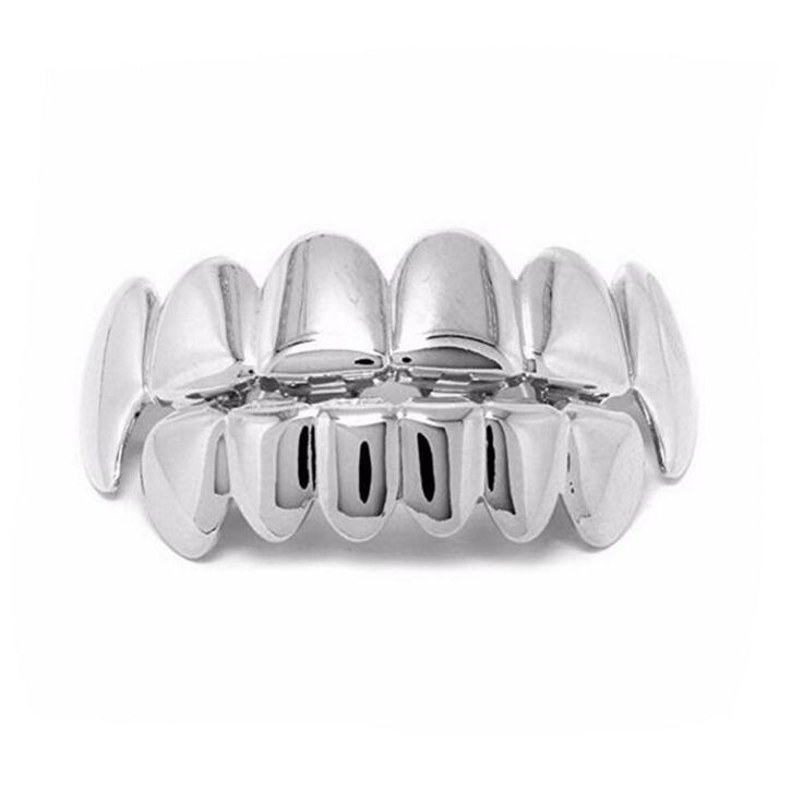 Silver Fangs Top and Bottom Hip Hop Grillz