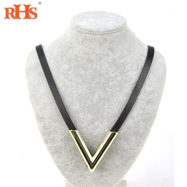 Женщины натуральная кожа ожерелье конский волос двойной письмо V кулон мода панк-рок позолоченные колье дизайнер подарок…