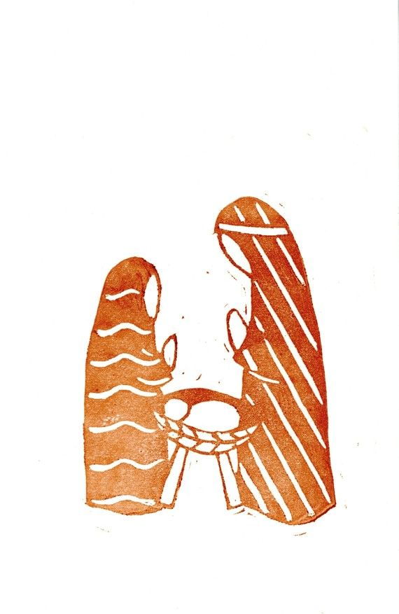 Nativity lino print card - I'd adapt this so it's even simpler. Great thing is it can be any colour.