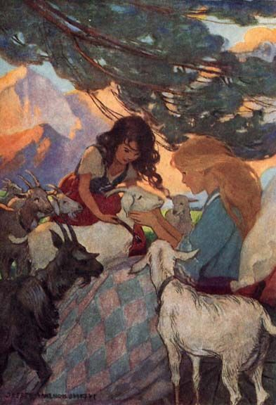 Heidi introduced each in turn by its name to her friend Clara - Heidi by Johanna Spyri, 1922