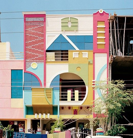 Colourful modernist houses in India.