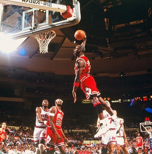 Michael Jordan  Bulls vs. Knicks -- 1992  Before he broke Chicago's heart, he gave them one hell of a Christmas gift. Facing the Knicks, Jordan went off for 42 points, eight rebounds, five assists and three steals in the Bulls' 89-77 victory.