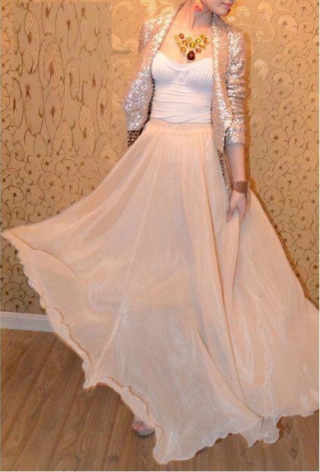 Silver Jacket and Chiffon Maxi  /  SkirtSpring Long Skirt Maxi Dress by dresstore2000, $35.99  /  tags: hijab, hijab fashion, hijab style, hijab outfit