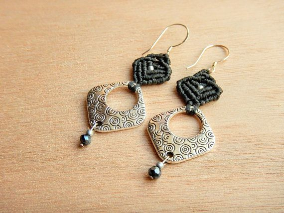 Hey, I found this really awesome Etsy listing at https://www.etsy.com/listing/527477699/modern-geometric-earrings-macrame-gray