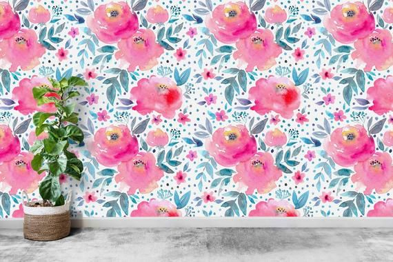 Removable Self Adhesive Floral Wallpaper Large Pink Flowers Etsy Floral Wallpaper Wallpaper Pink Flowers Wallpaper
