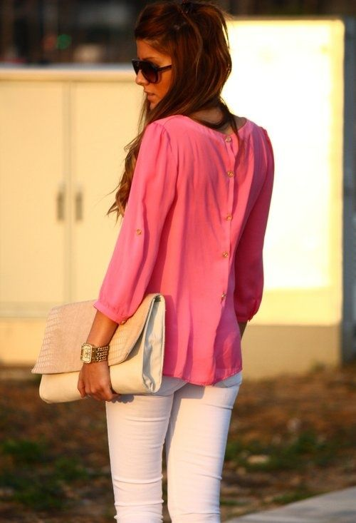 Button down back.: White Skinny, Pink Blouses, Shirts, Clutches, Summer Outfits, White Pants, Buttons, White Jeans, Summer Clothing