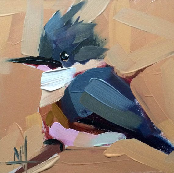 Belted Kingfisher no. 28  6 x 6 x 1/8 inch (15 x 15 cm)  Oil paint on archival gessobord panel. Signed by artist. Unframed.  Copyright: Angela