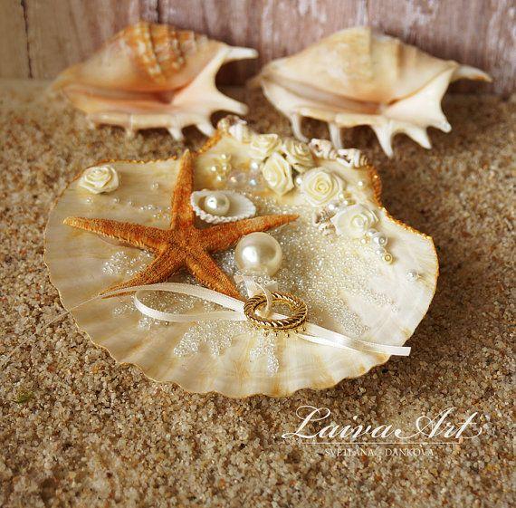 Seashell Ring Holder Beach Wedding Ring Bearer Pillow by LaivaArt