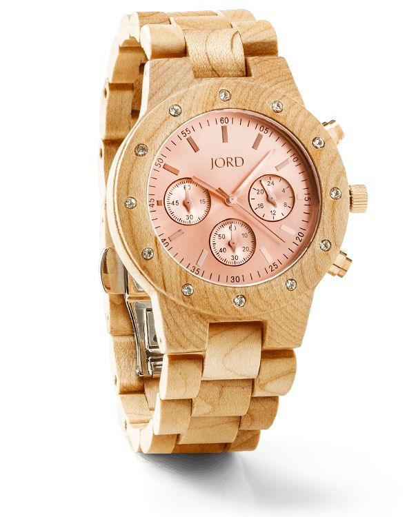 Sidney Series Wooden Watch For Women by JORD   Maple & Rose Gold