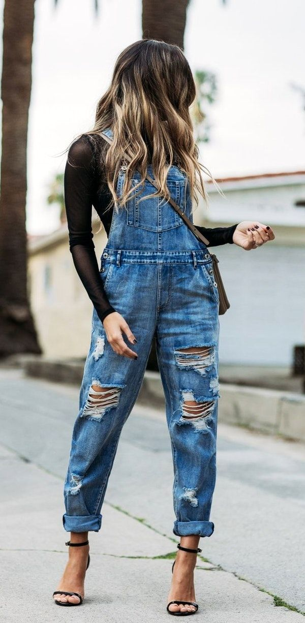 #winter #outfits blue denim dungaree pants