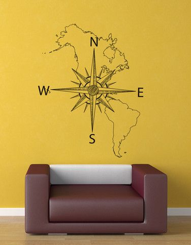 Nautical Map of North & South America w/ Compass Vinyl Wall Decal #6018 | Stickerbrand wall art decals, wall graphics and wall murals.