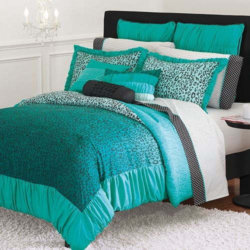 Teal bedding... maybe too much teal, and prob not the cheetah, but thought the combo was cute