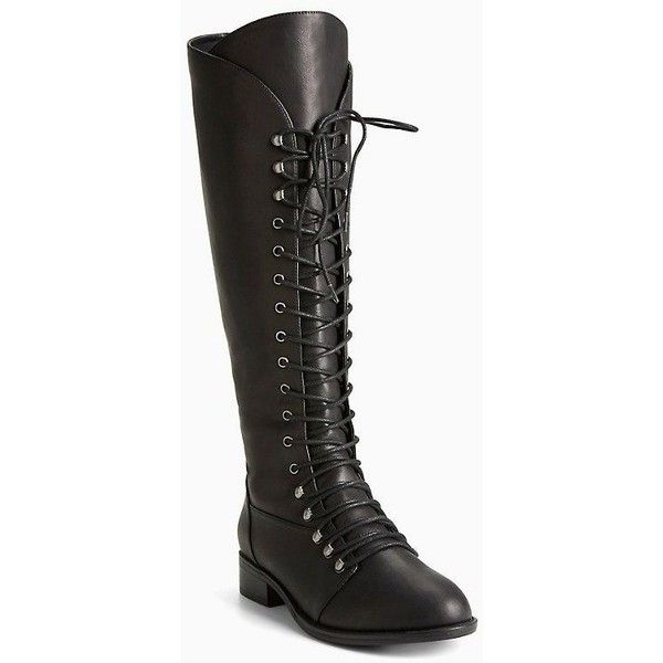Tall Lace Up Boots (Wide Width Wide Calf) Torrid ❤ liked on Polyvore featuring shoes, boots, black knee high lace up boots, black boots, wide width wide calf boots, black wide calf boots and tall lace up boots