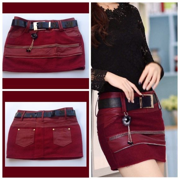 Joker Zipper Mini Skirt PU leather with tassel winter joker zipper hip short mini skirt. Color red wine. Party with this baby on I'm sure you will get compliments. New! PRICE FIRM UNLESS BUNDLED Skirts Mini