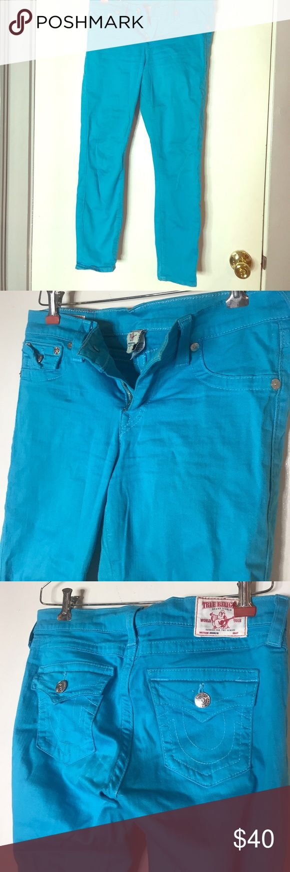 Teal true religion ankle jeans Turquoise ankle skinny jeans with silver buttons, false front pockets, real button back pockets. Sz 28 cotton elastane blend True Religion Jeans Ankle & Cropped