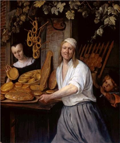 """""""Baker Oostwaert and his wife"""" - Jan Steen. Dutch painter--there is SO MUCH in all of his paintings.  In this case, delicious bread. Mmmm, bread."""