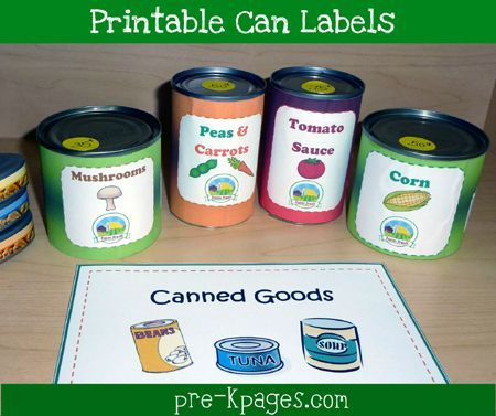 Free #printable can labels for your dramatic play grocery store vis www.pre-kpages.com/dramatic-play-grocery-store/ #preschool #play