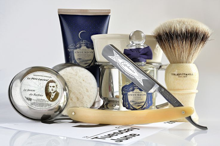 Le Pere Lucien shave cream, Boker Edelweiss 5/8 straight razor, Truefitt & Hill badger brush, Penhaligon's Endymion aftershave balm and cologne, June 3, 2014