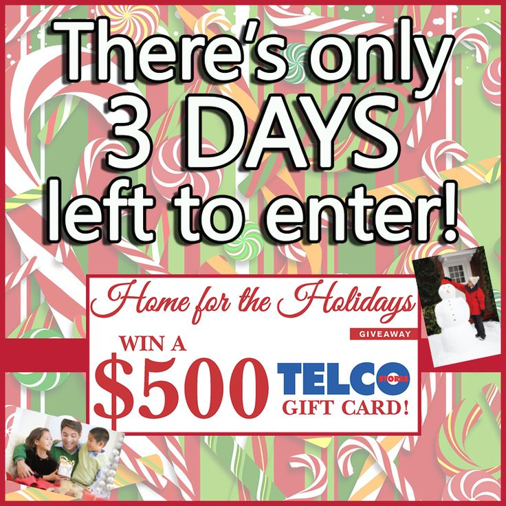 Only 3 days left to enter our Holiday Contest and be the lucky winner of a $500 Telco gift card!! You have until 11:59 pm on December 16th to get your entries in. We will be announcing the winner on Tuesday, so keep an eye out! Good luck everyone!