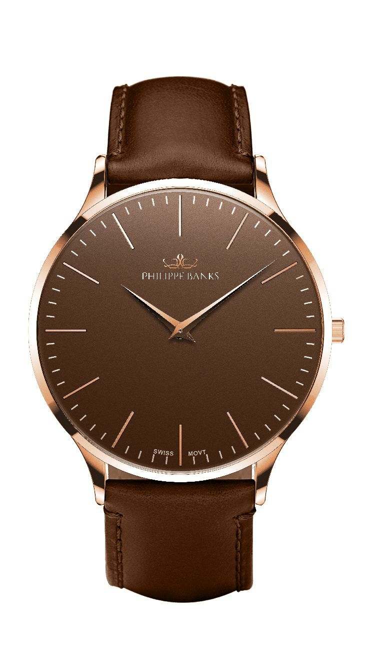 Slimline 40 | Rose Gold Brown Dial with Dark Brown Leather Strap by Philippe Banks. #ClassicWatches, #SwissMovement, #LeatherWatches - watches, designer, cheap, michael kors, olivia burton, omega watch *ad