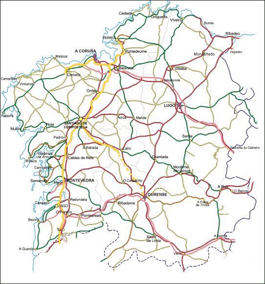 Mapa de Galicia.
