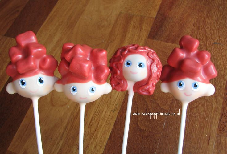 Merida and her brothers cake pops. Cute idea.