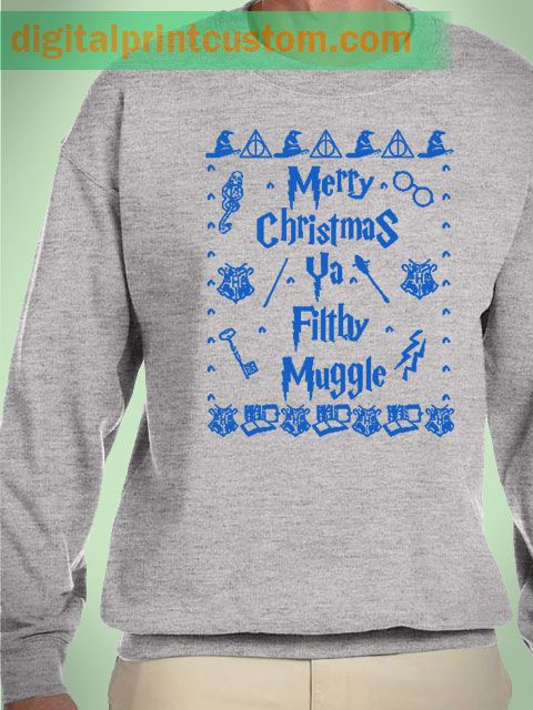 Harry Potter Muggle Merry Christmas Unisex Sweatshirts #harrypotter #muggle #christmas #sweater #sweatshirts #mens #women #grey #hogwarts #quotes