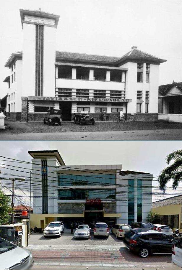 Het ontwerp van het kantoorgebouw van het Bataviaasch Nieuwsblad op de Sluisbrugstraat 23 in Batavia (Jakarta) , 1927 1930., ,., Kantor di jl Pintu Air Raya no 23, Jakarta, 2015