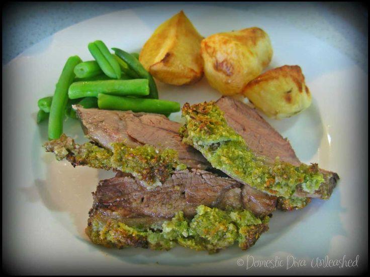 Lamb Roast with a Celery Pesto Crust.