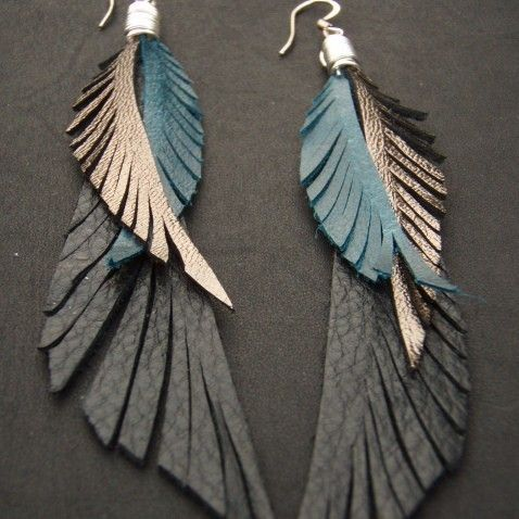 Leather Feather Earrings blue black and gold by CyclonaDesigns, $42.00