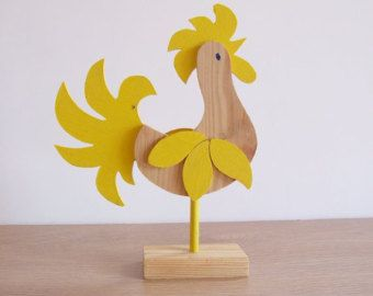 Folk Art Sweden Rooster // Bird 70s// Wood Yellow by tiendanordica