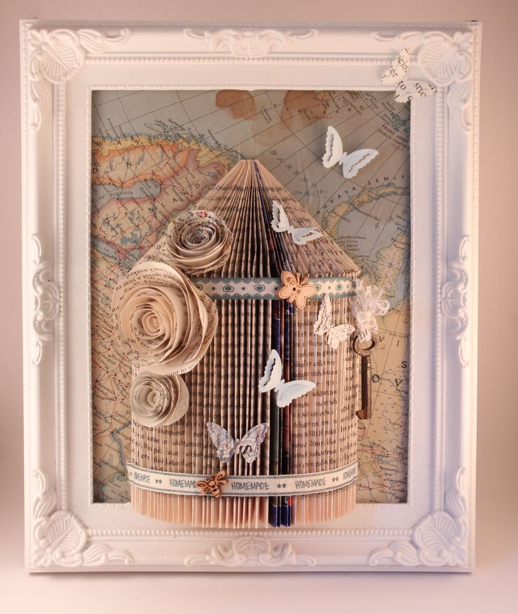 birdcage book folding frame with butterfly and map image with a real key