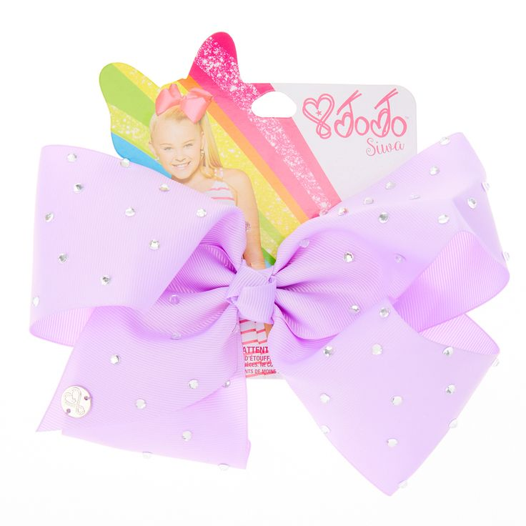 <P>Get the ultimate dancing hair accessory with this super fun large lavender colored signature hair bow from the JoJo Siwa collection. The bow has been attached to a metal salon clip making it really easy to wear and has been covered in rhinestones so you will sparkle from head to toe. </P><UL><LI>JoJo Siwa collection <LI>Large lavender rhinestone bow <LI>Metal salon clip</LI></UL><P>The JoJo Siwa signature bow collection is a...