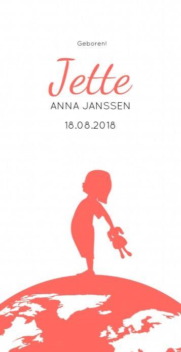 Stoer strak meisjes geboortekaartje met een wereldbol en een vintage silhouetje. Simpel en modern!