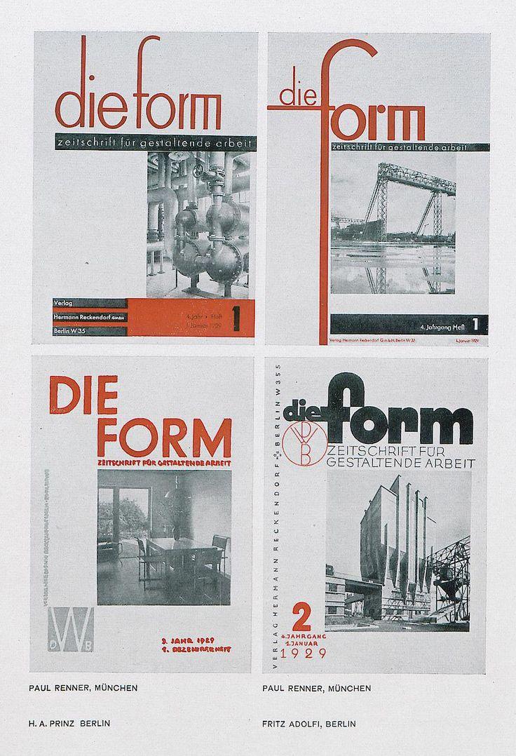 Design contest for the german magazine Form, 1928. Jan Tschichold, Max Burkhartz, Paul Renner et al. Winning graphic design by Walter Dexel