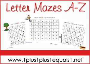 Alphabet Mazes Printables from www.1plus1plus1equals1.net