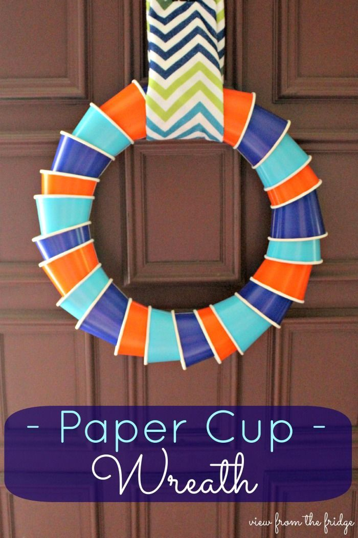 Paper Cup Wreath {Think Outside The Toy Box} - View From The Fridge