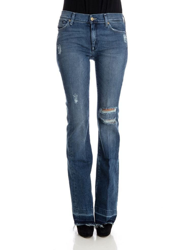 7 For All Mankind - Charlize jeans - flared fit jeans - destroyed jeans - ZO et LO