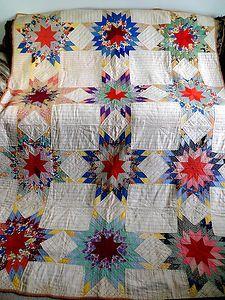 Vintage Antique Handmade Quilt 30's Radiant Star Quilt Feedsack Depression Era | eBay, imahick1939