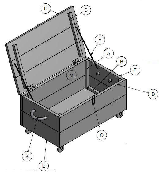 Bouwtekening voor een verrijdbare kist. Doe het zelf kist van pallethout. Houten kist op wielen. Dekenkist gemaakt met de planken van #pallets