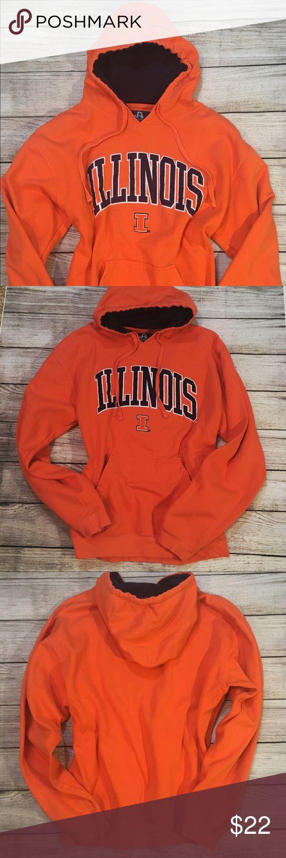 Illinois Fighting Illini Sweatshirt Men's Large Bright orange Fighting Illini pullover hoodie sweatshirt with drawstring closure, black lining and front pockets. Cotton/Polyester. Size Men's Large. J. America Sportswear Shirts Sweatshirts & Hoodies