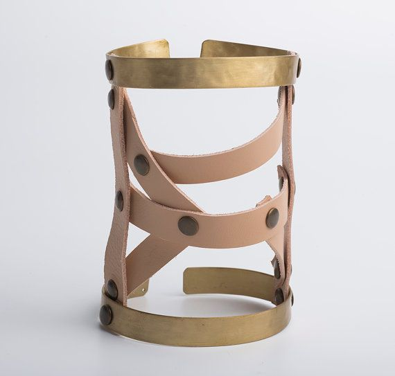 Leather Hand Cuff  Double cage Leather and Metal by EleannaKatsira
