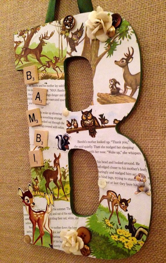 """Any letter done in Disney Bambi style - Wooden Letter """"B"""" in Disney Bambi - 11"""""""